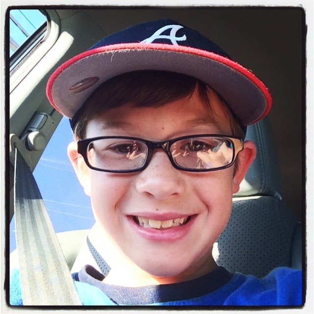 #mb sporting his new glasses.  Growing up! 5th grader...what?