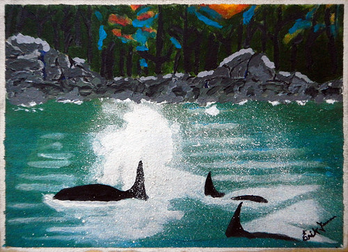 My dad's painting of whales from his whale-watching trip on Vancouver Island
