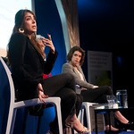 Ramita Navai and Alev Scott on stage at the Edinburgh International Book Festival |