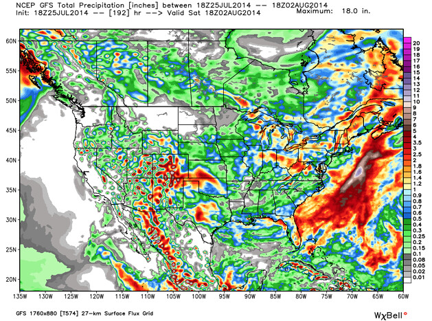 GFS precipitation forecast United States