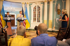 NBC's Andrea Mitchell asks U.S. Secretary of State John Kerry a question during his joint press conference with Ukrainian Foreign Minister Pavlo Klimkin at the U.S. Department of State in Washington, D.C., on July 29, 2014. [State Department photo/ Public Domain]