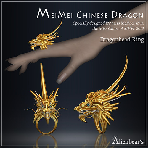 MeiMei Chinese Dragon Head Ring