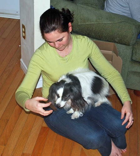 A girl and her dog, Papillon-mix, Toby Hopeful