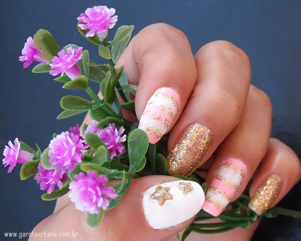 Unhas dourado e rosa 3