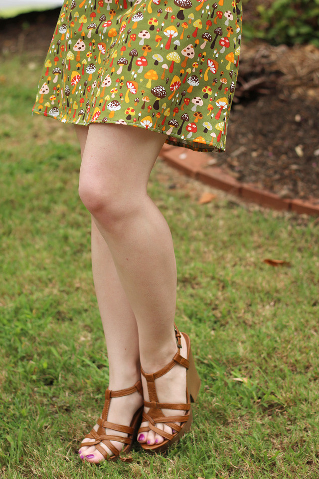 Mushroom Print Dress and Brown Wedge Sandals