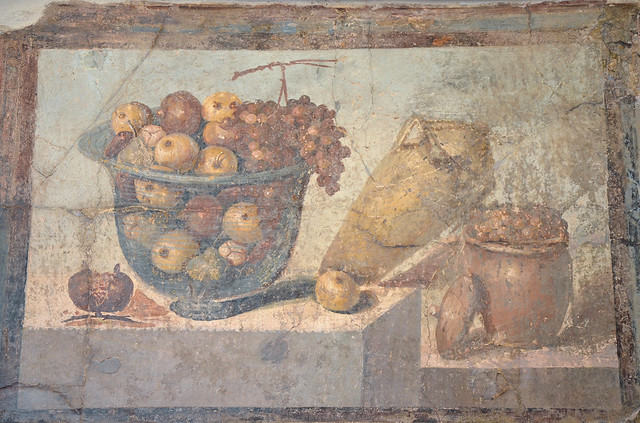 Fresco showing a fruit bowl, a jar of wine and a jar of raisins, from the House of Julia Felix in Pompeii, Naples National Archaeological Museum
