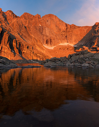 morning lake snow mountains reflection water sunrise nationalpark glacier longspeak 14er chasmlake millsglacier