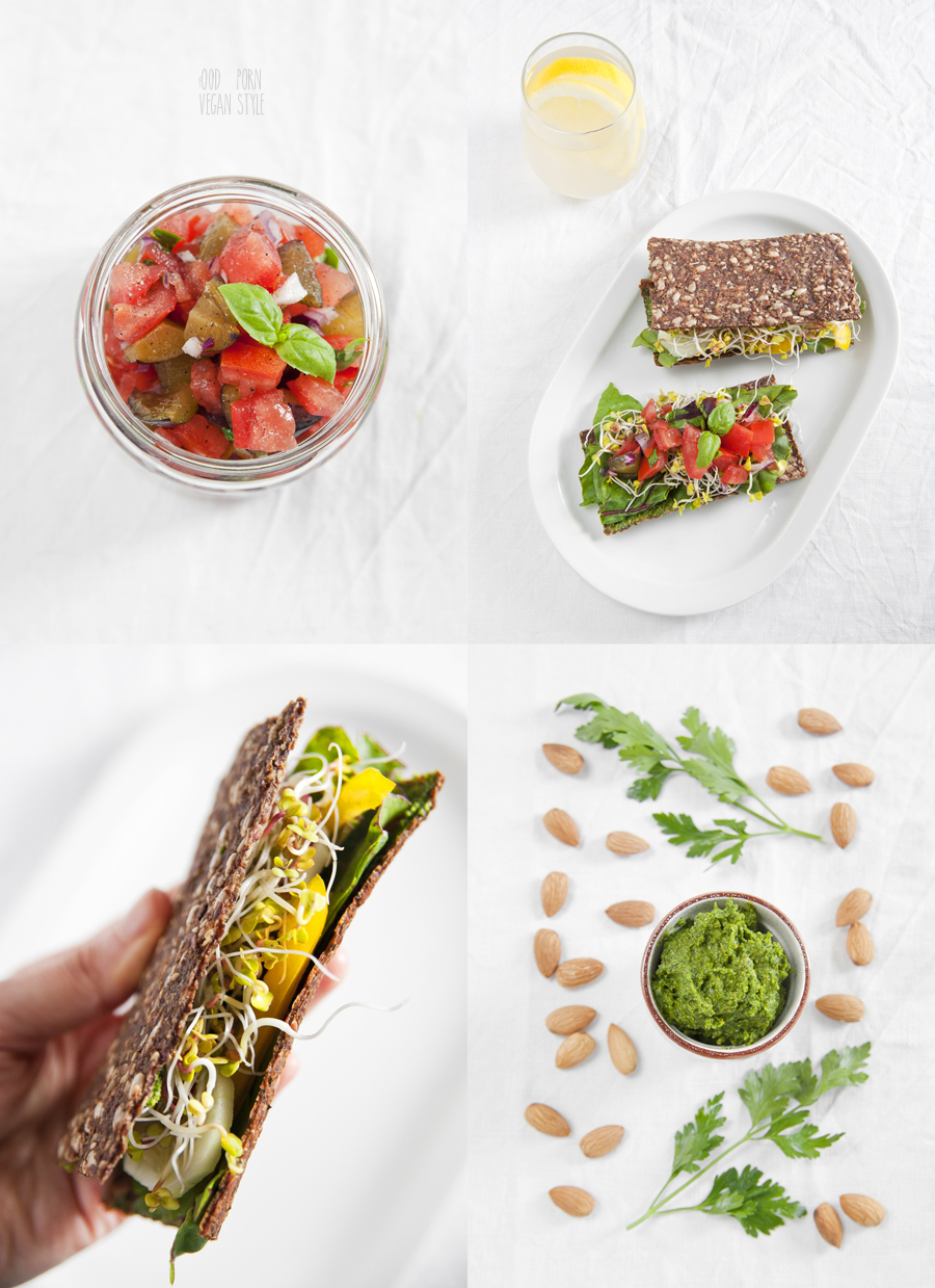 Raw bread with parsley pesto and tomato-plum salsa
