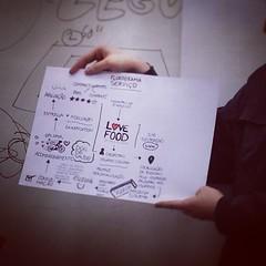 Saca só o #sketchnote que um dos grupos do curso de #ux fez pra apresentar sua idéia de serviço/app. #uxniversity