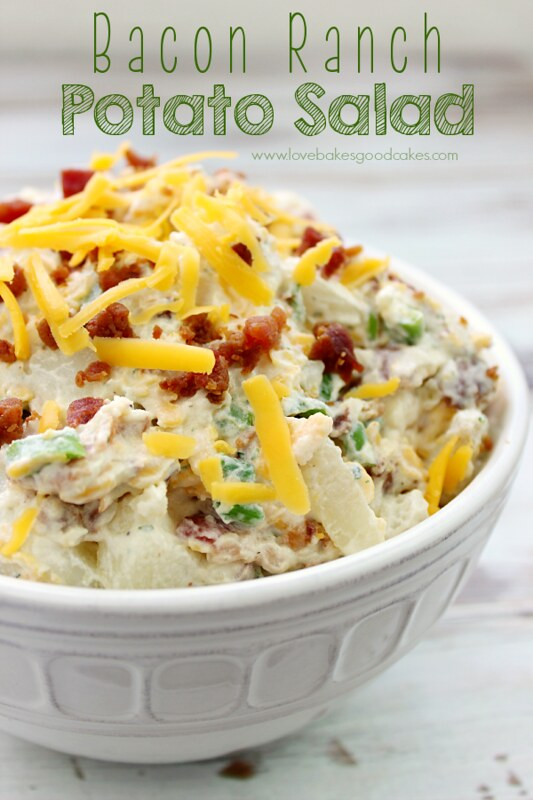 Bacon Ranch Potato Salad in a white bowl.