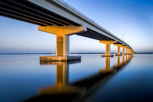 longexposure bridge sunset sky usa reflection water river landscape lowlight florida clear titusville centralflorida merrittislandnationalwildliferefuge minwr edrosack