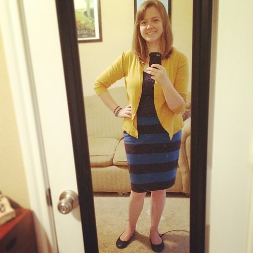 Back to the classics #ootd #sharpdressedlady Can't beat a striped pencil skirt, especially when it's comfy knit and cost $6 :)