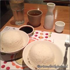 "The usual. #whatsprinceeating: ""Two bowls of sticky white rice w/ hot sake!!"" www.princesdailyjournal.com #princesdailyjournal #princeinthecity #food #foodie #foodart #iphonephotography #sake #rice #boston #wagamama #yumm"