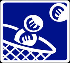 Símbolo de pagar en peaje con monedas