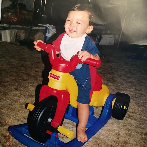 #tbt on Friday. Tyler enjoying his trike. He was such a drooly baby so he wore a bib for 1st year or so.
