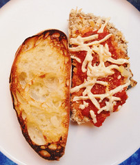 82.5/365: Garlic Bread and Eggplant Parm