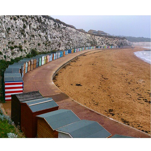 Lovely row of beachhuts. #broadstairs They all had drop-down hatches on the front, like a Punch and Judy theatre.