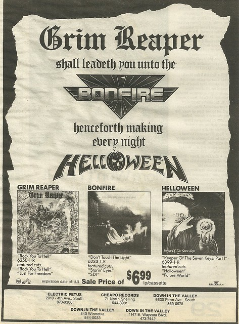 Grim Reaper/ Bonfire/ Helloween Album Ad (October 1987)