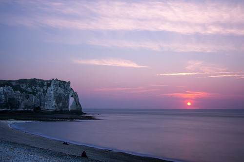 sunset sea seascape france beach cliffs normandie normandy falaise plage channel etretat seinemaritime