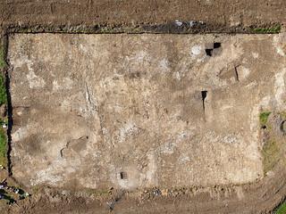 Orthophotographie du chantier archéologique sur le Mont Castel à Port-en Bessin (Calvados-FR)