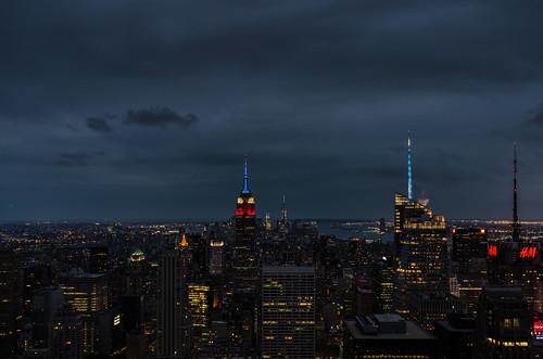 newyork night manhattan empirestate rockefeller topoftherock