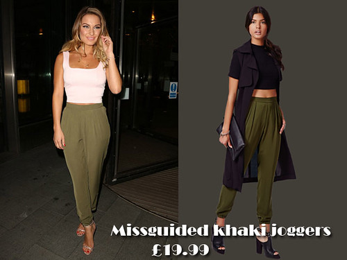 Khaki loose fit jogger trousers with crop top: Joggers Trend