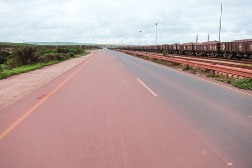 Saldanha ore terminal and roads red of iron dust