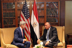 Secretary of State John Kerry meets with Egyptian Foreign Minister Sameh Shoukry, in Cairo, Egypt, September 13, 2014. [State Department photo/ Public Domain]