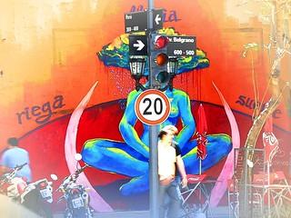 Traffic-light headed mural