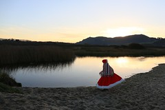 Lolo dons the big red Santa Cape/Carmel River Lagoon at sunrise