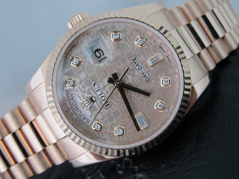 Bán đồng hồ rolex day date 6 số 118235 – vàng hồng – mặt đá vi tính xà cừ – size 36mm
