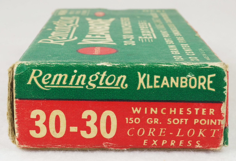 RD14567 Vintage Remington KLEANBORE 30-30 Express 150 gr. Soft Point SMOKELESS Ammo Box & 20 Brass Casings DSC06989
