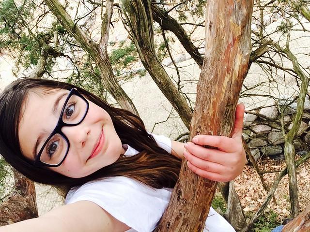Climbing a tree selfie