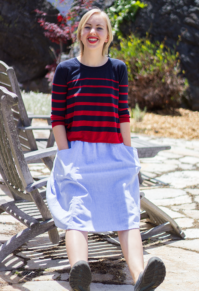 navy blue and red striped sweater, powder blue midi skirt