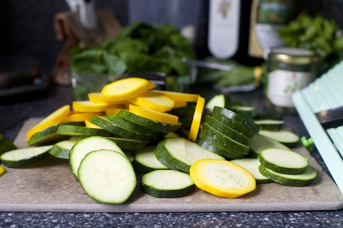 zucchini in thin slices