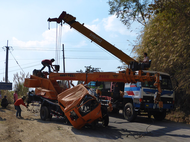 21 Crane Crash on Vang Vieng to Luang Prabang Route 13 Road