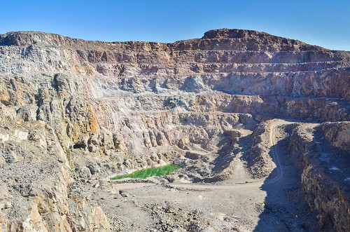Open pit and green lake at the Brandberg West Mine, Namibia