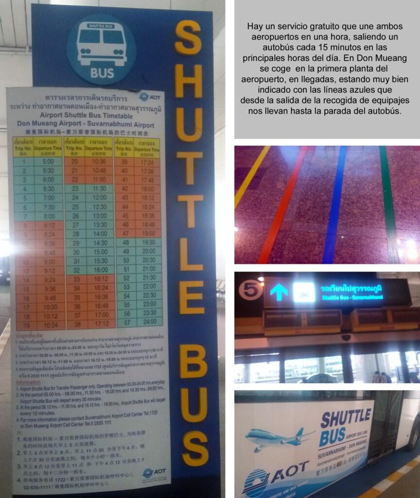 Autobús Shuttle que comunica los dos aeropuertos de Bangkok en una hora. cómo moverse por bangkok - 14419602208 a975527341 b - Cómo moverse por Bangkok