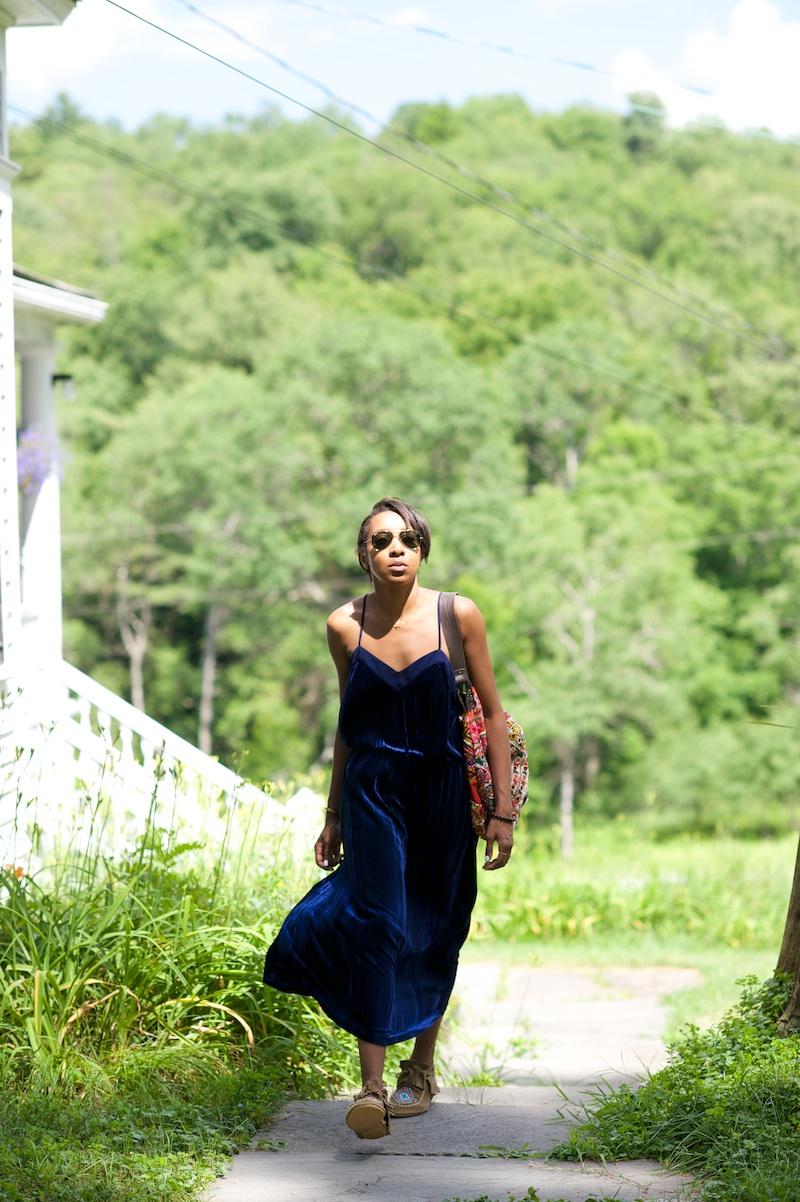 blue slip dress