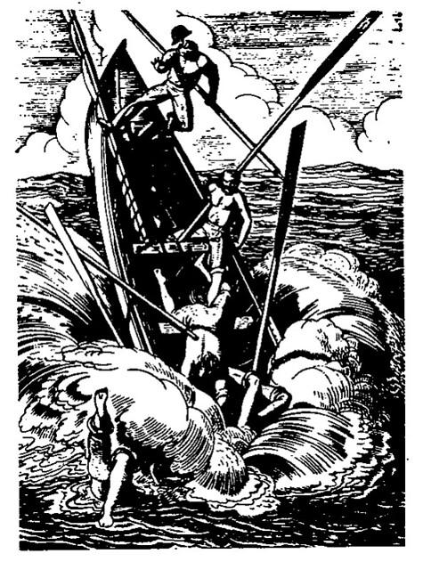 """《白鲸》中的插图-被""""白鲸""""Moby Dick弄沉的捕鲸小艇"""