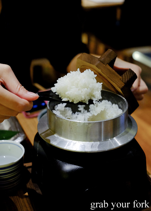 Kama taki gohan freshly steamed rice at the table at Yayoi, Sydney