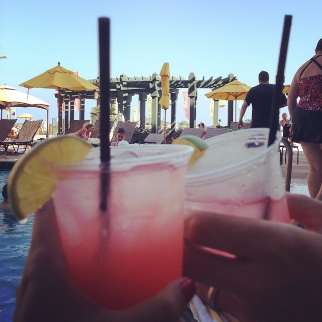 Cheers! Beach cocktails... Next up is some beach nachos! Love lazy days like this!