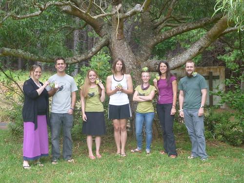 2014 crew under a koa tree with Kiwikiu toys.