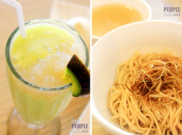 Avocado Milk Shake with Sago (P125) and Noodle with Spring Onion Oil