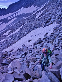 Meredith Climbing to the North Ridge of Gladstone