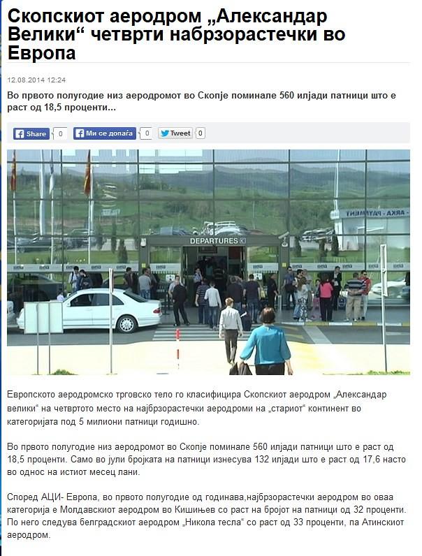"""Скопскиот аеродром """"Александар Велики"""" четврти набрзорастечки во Европа"""