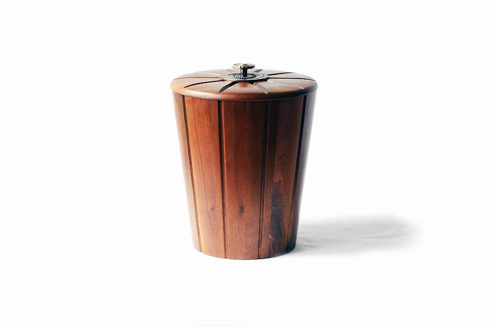 Vintage Mid Century Walnut Wood Ice Bucket