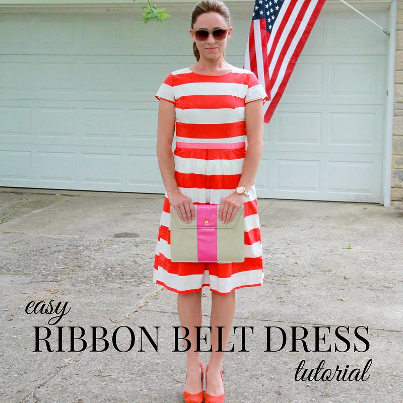 how to make an easy ribbon belt dress tutorial via Kristina J blog