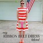 how to make an easy ribbon belt dress tutorial via Kristina J blog