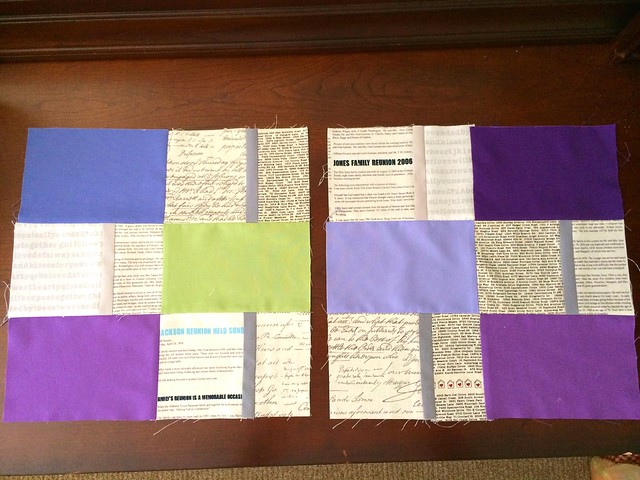 Postcard blocks for Do Good Stitches Faith Circle July 2014.